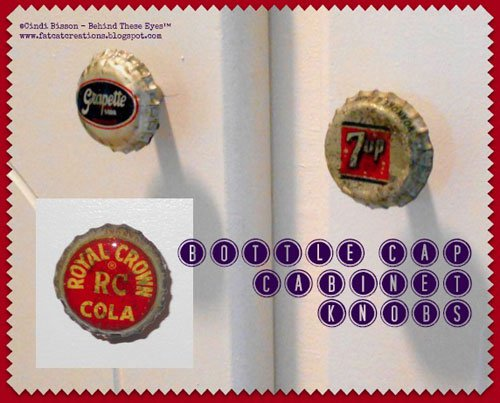 diy vintage soda bottle cap cabinet knobs, crafts, kitchen cabinets, kitchen design, repurposing upcycling