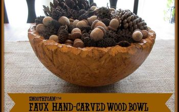 diy faux hand carved wood bowl, crafts