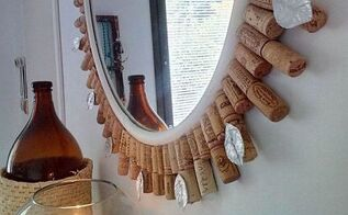 diy wine cork mirror frame, crafts, home decor, repurposing upcycling, wall decor