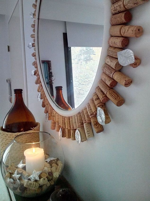diy wine cork mirror frame, crafts, home decor, repurposing upcycling, wall decor