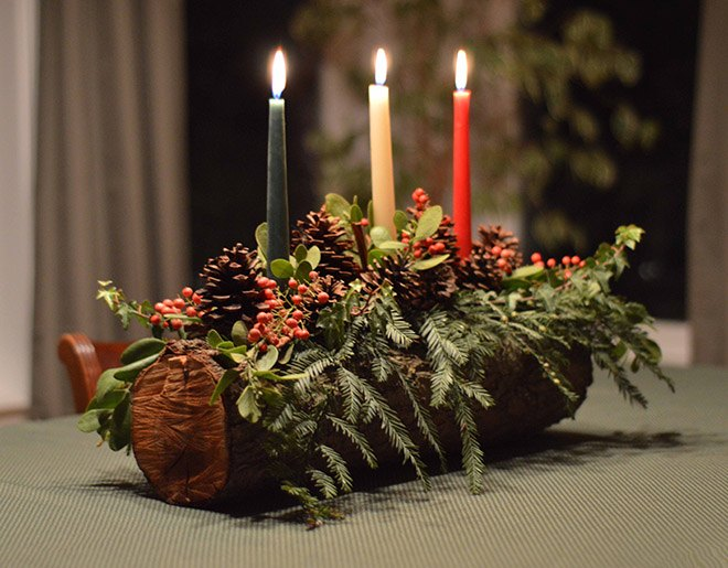 christmas yule log diy tutorial christmas decorations crafts - Christmas Log Candle Holder Decorations