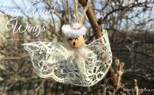 lacy angel wings ornament, christmas decorations, crafts, seasonal holiday decor