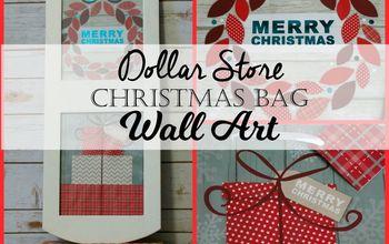 dollar store christmas gift bag wall art, christmas decorations, crafts