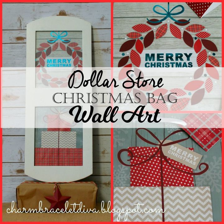 Dollar store christmas gift bag wall art hometalk dollar store christmas gift bag wall art christmas decorations crafts negle Gallery