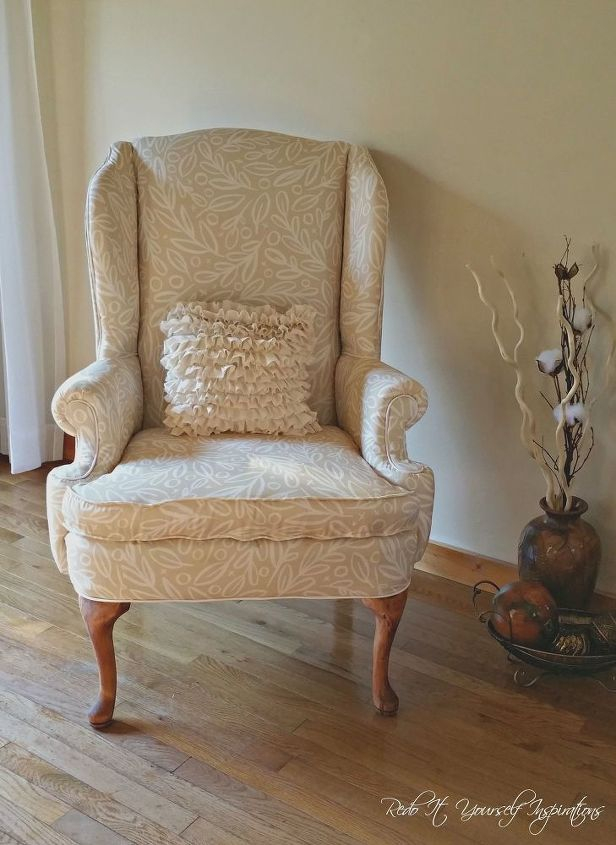 A Wingback Chair Makeover Painted Furniture Reupholster
