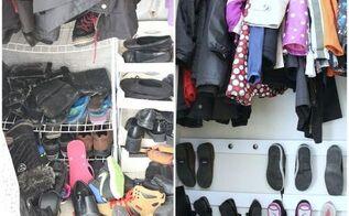 entry closet shoe hooks, bedroom ideas, closet, diy, organizing, shelving ideas, woodworking projects