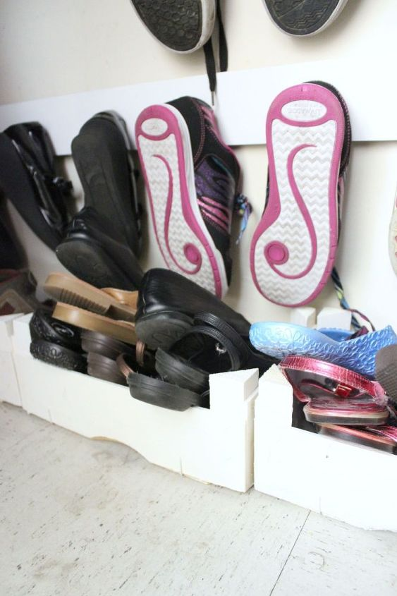 entry closet shoe hooks, bedroom ideas, closet, diy, organizing, shelving ideas, woodworking projects