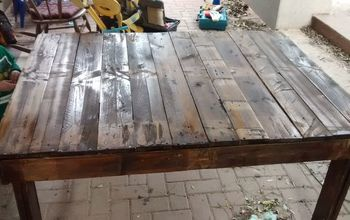 diy outdoor pallet table first woodworking attempt, how to, outdoor furniture, painted furniture, pallet, woodworking projects