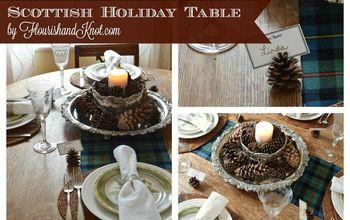 a scottish holiday table, christmas decorations, crafts, seasonal holiday decor