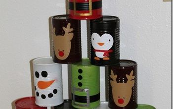 Recycled Food Cans Christmas Bowling Game #Christmas