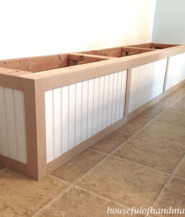dining room built in bench with storage, dining room ideas, diy, storage ideas, woodworking projects