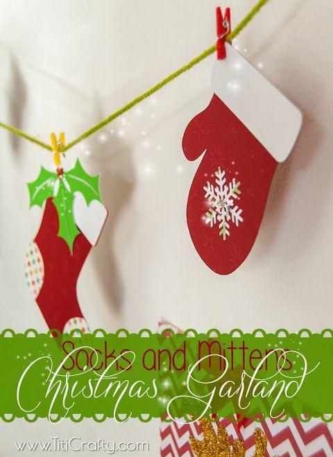 diy socks and mittens christmas garland cut files christmas decorations crafts seasonal holiday - Diy Christmas Garland