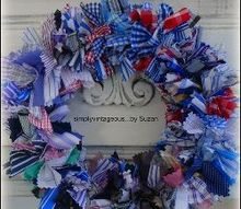 making rag wreaths, crafts, repurposing upcycling, wreaths
