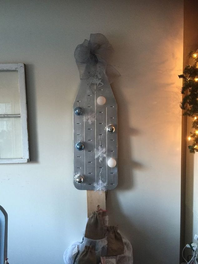 vintage ironing board turned christmas tree, christmas decorations, repurposing upcycling, seasonal holiday decor