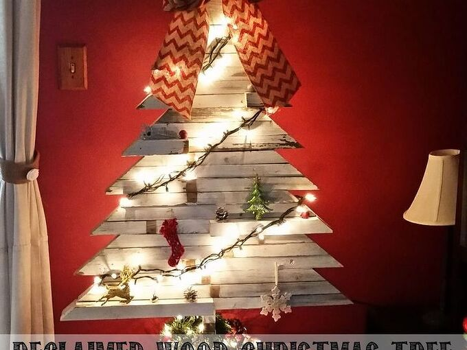 reclaimed wood christmas tree, christmas decorations, crafts, seasonal holiday decor, woodworking projects