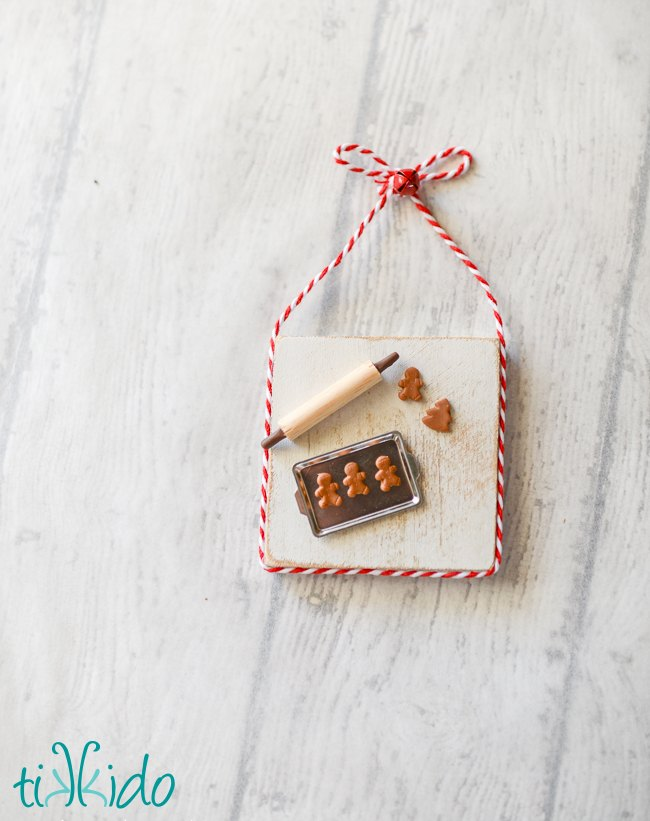 miniature gingerbread baking scene christmas ornament, christmas decorations, crafts, seasonal holiday decor