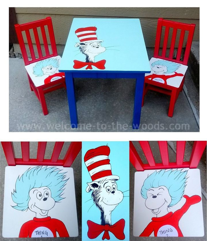 Dr Seuss Table Chairs Hand Painted Kids Furniture
