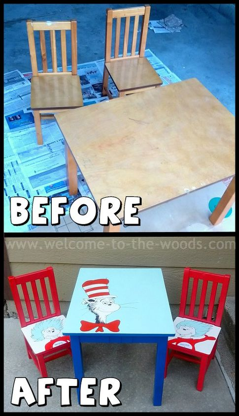 dr seuss table chairs hand painted kids furniture, painted furniture