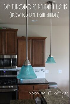 turquoise pendants light how to dye light shades, home improvement, how to, kitchen design, lighting, painting