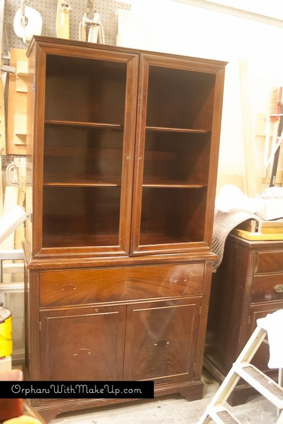 china cabinet makeover from traditional to farmhouse, kitchen cabinets, kitchen design, painted furniture