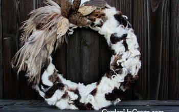 a natural wreath sheep fiber and feathers, crafts, seasonal holiday decor, wreaths