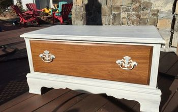 sentimental old dresser into a beautiful storage bench, outdoor furniture, painted furniture, storage ideas