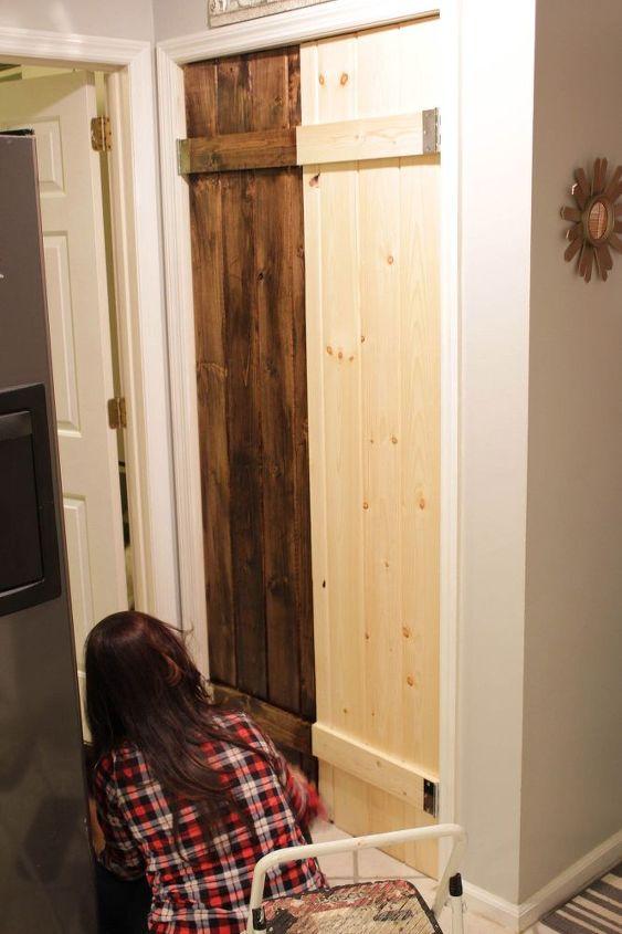 double pantry barn door diy under 90, closet, diy, doors, kitchen design, woodworking projects