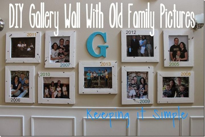 Diy gallery wall with old family picturs diy foyer home decor wall decor