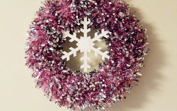 snowflake wreath easy tinsel, christmas decorations, crafts, seasonal holiday decor, wreaths