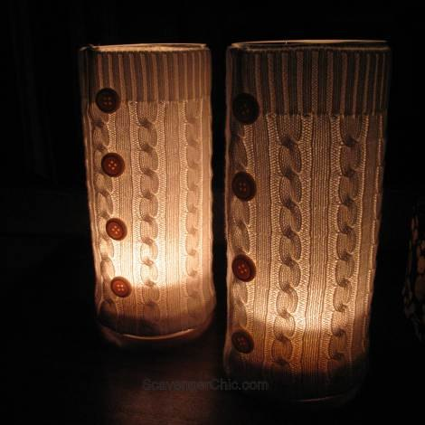 recycled sweater hurricane lamp more gift ideas with sweaters, crafts, repurposing upcycling, seasonal holiday decor