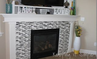 fire place makeover with mosaic tiles diy, diy, fireplaces mantels, living room ideas, tiling