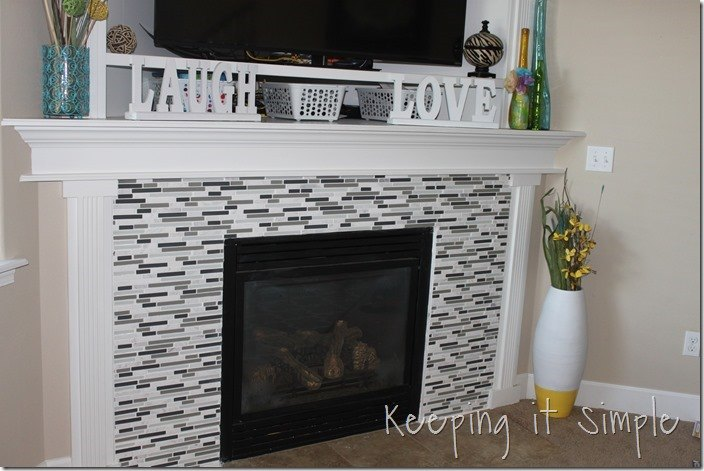 fire place makeover with mosaic tiles diy diy fireplaces mantels living room ideas