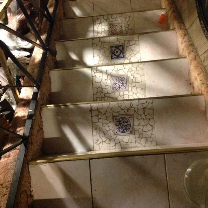 pool tile stairs, basement ideas, repurposing upcycling, stairs, tiling