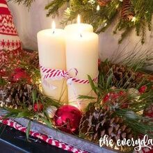 diy lighted pinecone candle tray, christmas decorations, crafts, seasonal holiday decor