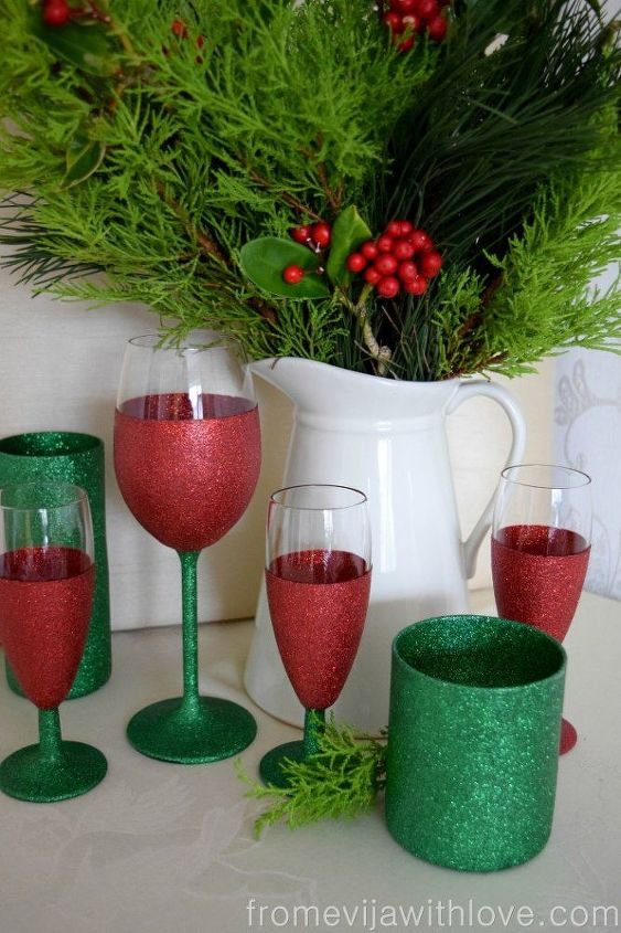create beautiful sparkly festive glasses, christmas decorations, crafts, decoupage, how to, seasonal holiday decor