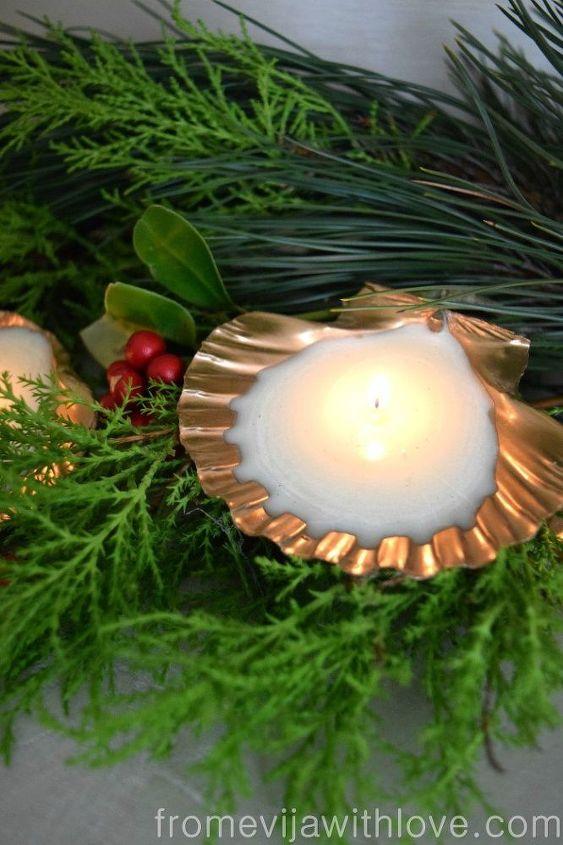 beautiful gold candles made using spray paint and sea shells, christmas decorations, crafts, seasonal holiday decor
