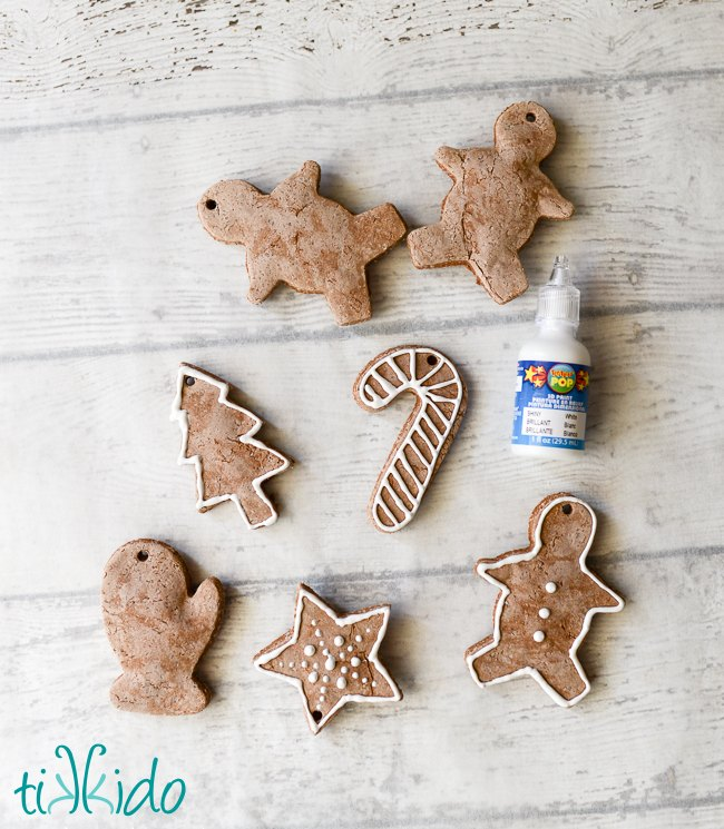 gingerbread scented salt dough ornaments, christmas decorations, seasonal holiday decor
