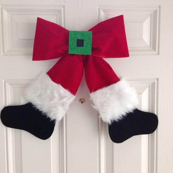 santa bow wreath wall hanging christmas decorations crafts seasonal holiday decor wreaths - How To Tie Decorative Bows For Christmas Decor