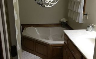 q cream bathroom decor advice, bathroom ideas, home decor, home decor dilemma, Walking into the door Sink vanity on right and shower stall on left behind the door