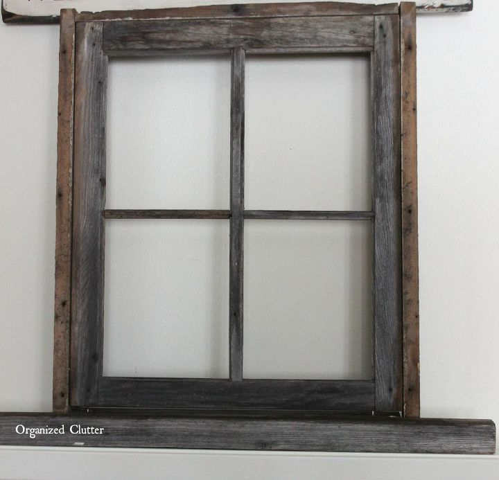 Anchoring A Christmas Mantel With An Old Weathered Window Frame ...