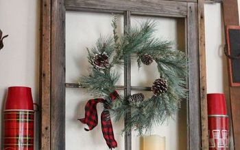 Anchoring A Christmas Mantel With An Old Weathered Window Frame