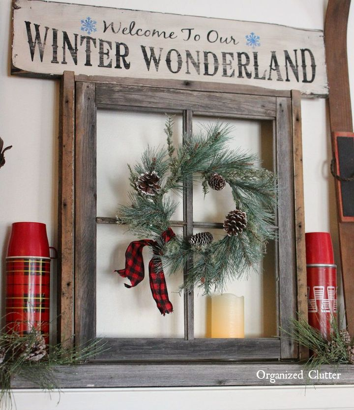 fireplace mantels cardboard anchoring a christmas mantel with an old weathered window frame