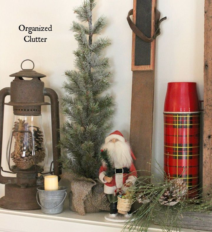 Anchoring A Christmas Mantel With An Old Weathered Window