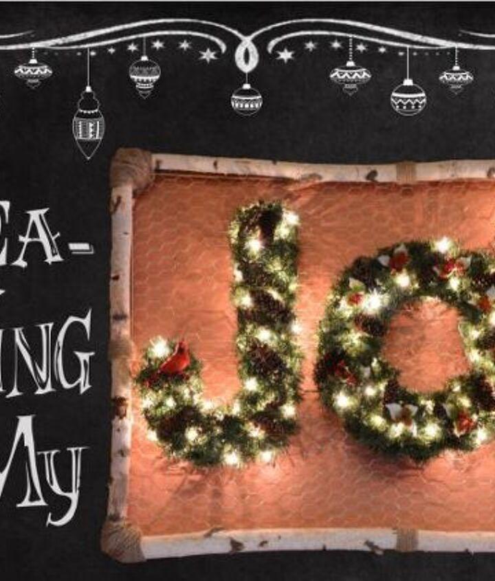 wrea thinking my j o y, christmas decorations, crafts, home decor, seasonal holiday decor