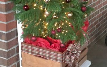 wood crate turned faux planter holiday crate x 10, christmas decorations, crafts, repurposing upcycling, seasonal holiday decor