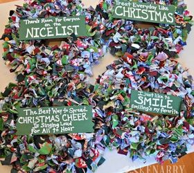 Scrap Fabric Christmas Wreath, Christmas Decorations, Crafts, How To,  Seasonal Holiday Decor