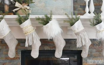 diy linen burlap christmas stockings, christmas decorations, crafts