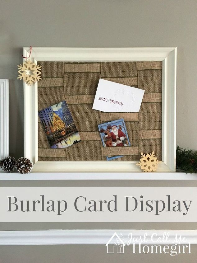 Burlap greeting card holder hometalk burlap greeting card holder christmas decorations crafts seasonal holiday decor m4hsunfo