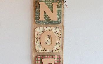 noel burlap wall hanging, christmas decorations, crafts, seasonal holiday decor