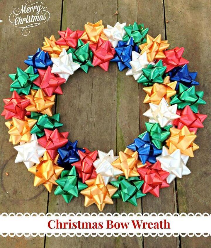 diy christmas bow wreath, christmas decorations, crafts, wreaths